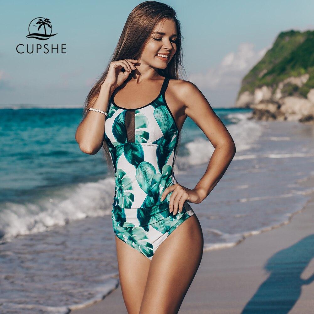 CUPSHE Green Leaf Print Cross One piece Swimsuit Women Ruched Tied Monokini Swimwear 2020 Girl Beach Bathing SuitsBody Suits   -