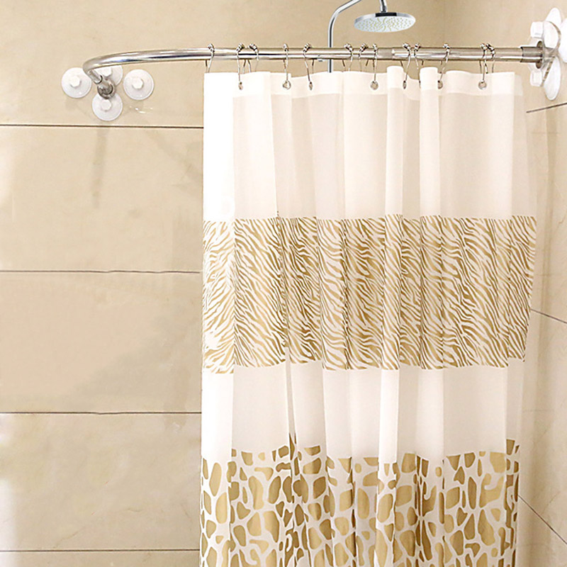 High Quality Thickened Stainless Steel Shower Curtain Rod Sturdy Durable Bath Curtain Set