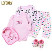 Baby Clothes Set 5PCS Long Sleeve Baby Bodysuits Pants Bibs Shose Newborn Infant Clothing Baby Boy