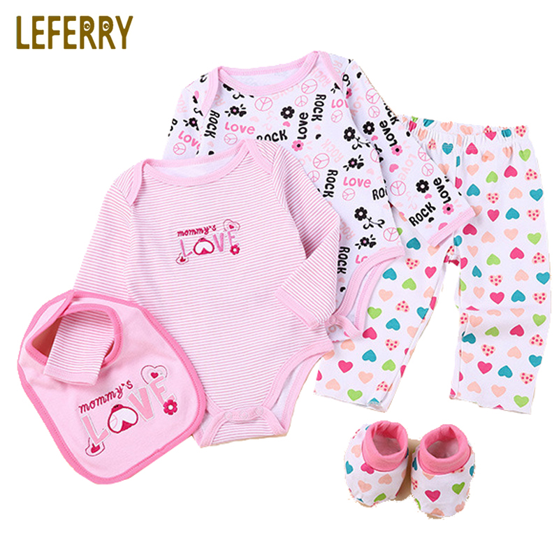 Baby Clothes Set 5PCS Long Sleeve Baby Bodysuits + Pants + Bibs + Shose Newborn Infant Clothing Baby Boy Clothing Set 2018 New newborn baby boy girl clothes set short sleeve top bodysuits leg warmer bow headband 3pcs clothing outfits set