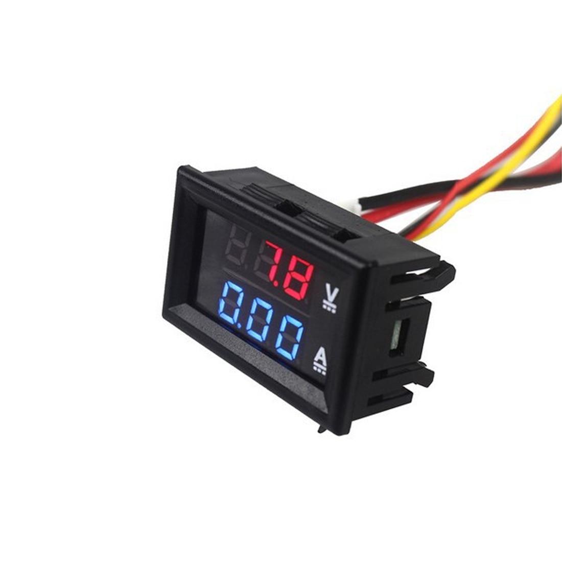Digital Voltmeter Ammeter 2in1 DC Volt Amp Meter 0 100V/50A Red Blue W/ Shunt Best Quality Voltage Meters     - title=