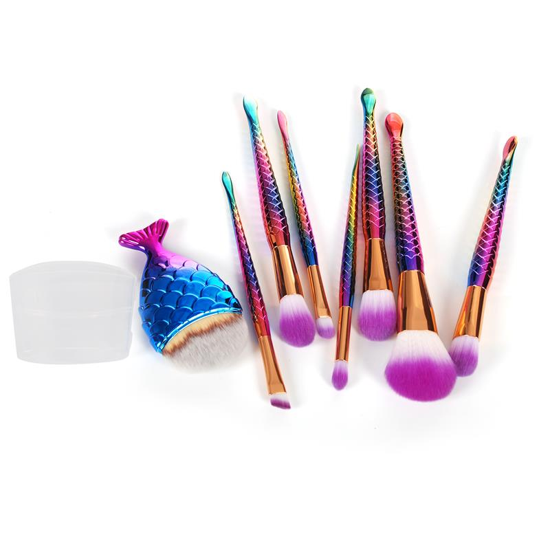 7Pc Mermaid Makeup Brush Set Big Fish Tail Foundation Brushes Rainbow Diamond Handle Powder Eyeshadow Contour Cosmetic Brush Kit недорого