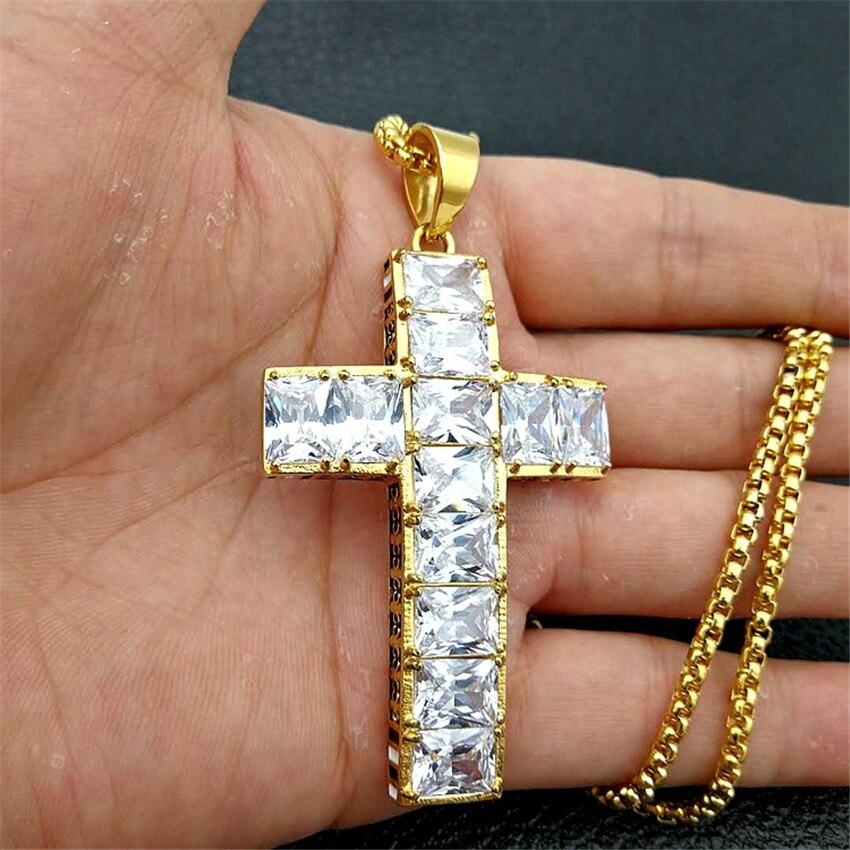 Hip Hop lourd grande croix pendentif collier cadeau de noël couleur or acier inoxydable glacé CZ Bling bijoux chrétiens