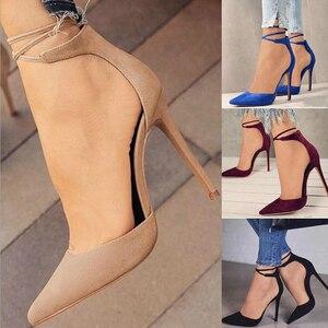 Image 5 - Сексуальные женские туфли VOGELLIA с острым носком на тонком высоком каблуке, женские туфли лодочки на шнуровке, свадебные Подиумные сандалии, женская обувь