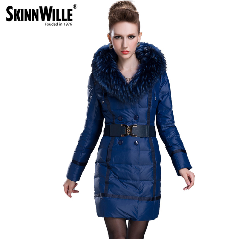 Gish villmergen 2017 fashion new arrival large thickening double breasted fur collar down coat medium long