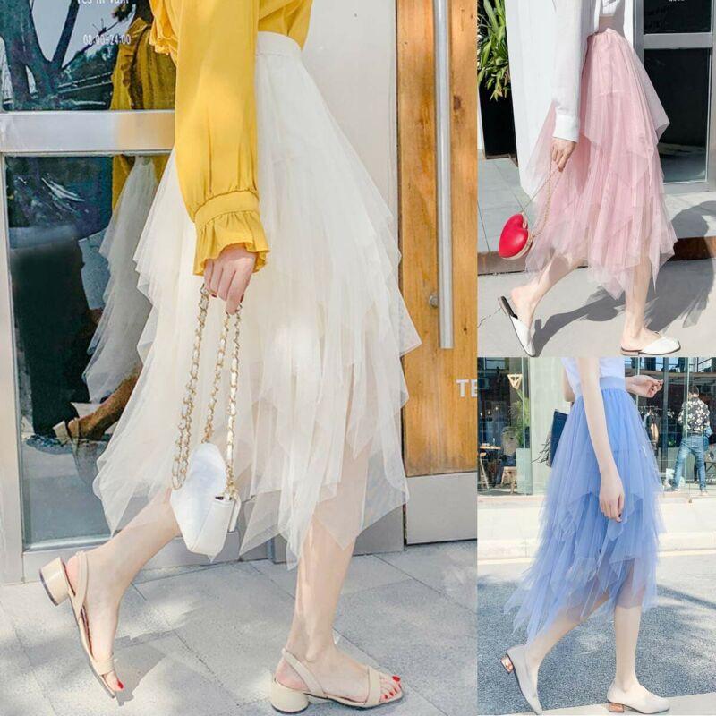 Irregular Tulle Skirt Women Summer Dress Dress Up Party Petticoat Ball Gown