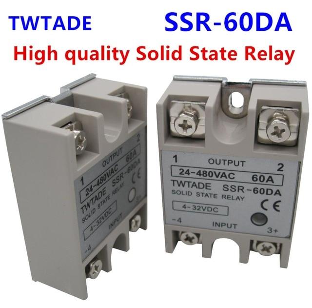 TWTADE/ High-quality Single Phase Solid State Relay SSR-60DA Module 3-32V DC To 24-480V AC SSR-60 DA SSR 60A