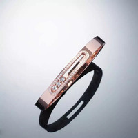 New Hot Stainless Steel Women Bracelets Bangles CZ Setting 18K Real Gold Plated Rose Gold Special