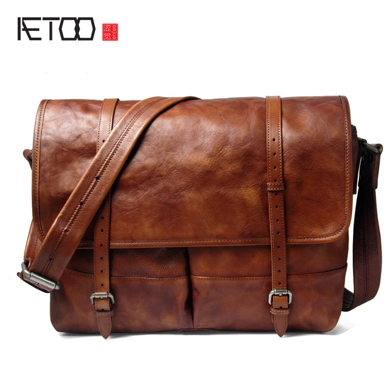 AETOO New leather men bag retro first layer of leather shoulder wrapped tannage leisure Messenger bag qiaobao 2018 new korean version of the first layer of women s leather packet messenger bag female shoulder diagonal cross bag