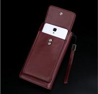 Hombres Cuero auténtico piel de oveja teléfono monedero bolsa de embrague gran capacidad para el iPhone 8 8 s Plus/sumsung nota 3
