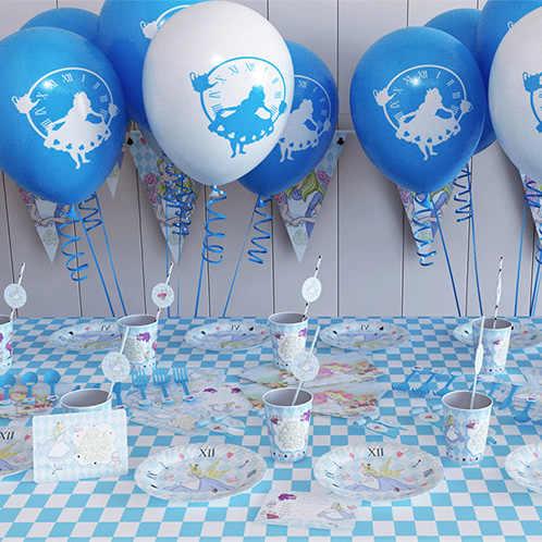 أليس في بلاد العجائب موضوع حفلة عيد ميلاد مجموعة زينة ورقة كأس الاطفال فتاة الأطفال يوم أليس لوازم الحفلات بعد الظهر الشاي