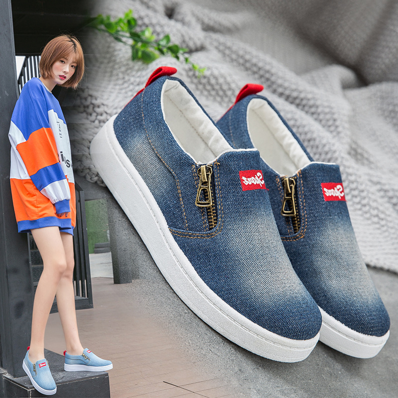 Summer Denim Fashion Women's Casual Shoes Korean unisex Canvas Shoes Women's Large Size Casual Loafers Flat Shoes 1