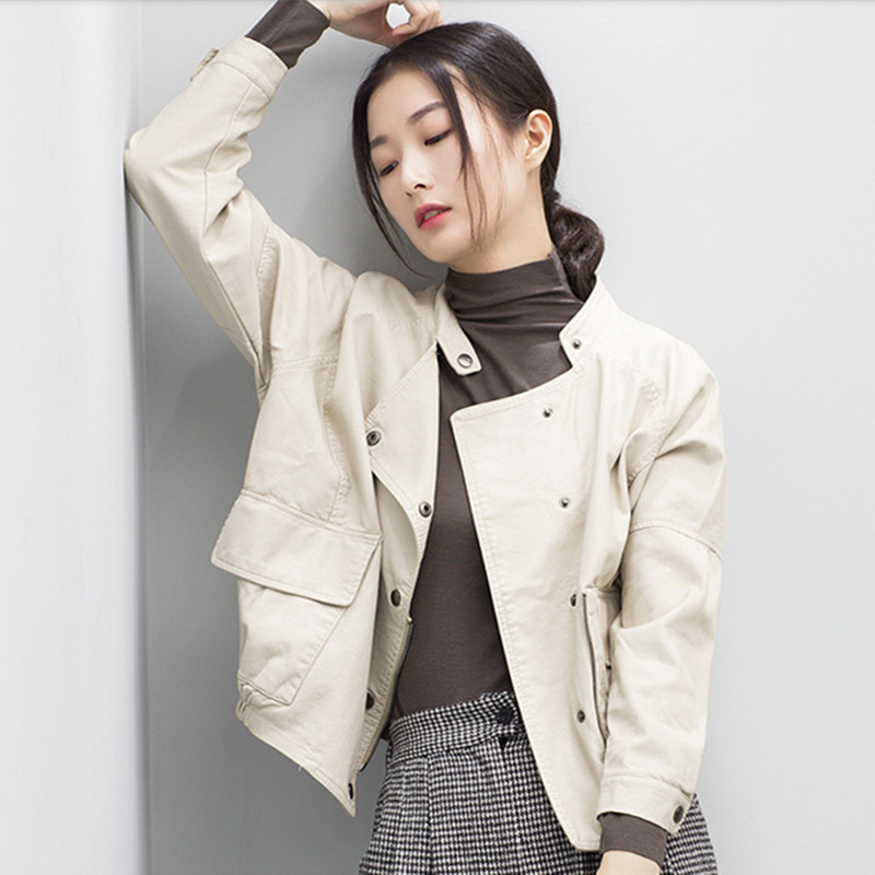WSYORE   Leather   Coat 2019 New Spring and Autumn Casual PU   Leather   Jacket Women Short Motorcycle Jackets NS1049