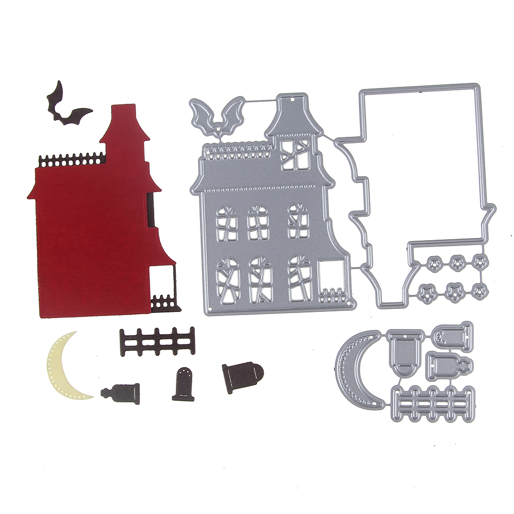 Building House Set Metal Stencil Cutting Die House Family 3D DIY Scrapbooking Craft Die Photo Invitation Card Decoration 99*73mm