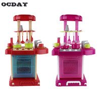 OCDAY Pretend Play Toys For Children Boy Girl MultifunctionalKitchenware Large Kitchen Cooking Simulation Table Model Utensils