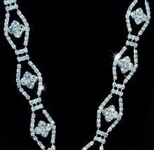 10Yards Silver Rhinestone Trim Wedding Crystal Chain For Bridal Dress Bouquet
