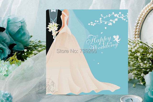 Promotion100pcslot customized wedding invitation card sky blue promotion100pcslot customized wedding invitation card sky blue color free charge print design language stopboris Image collections