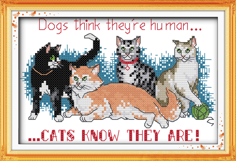 Free Ship Cat Friends Counted 11CT 14CT Unfinished Cross Stitch wholesale animals Cross Stitch Kits for Embroidery Needlework