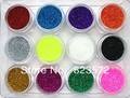 2013 New 12 Colors/set Glitter powder /Crushed Shell Stone For Nail Art UV Gel Acrylic nail decoration+Free Shipping