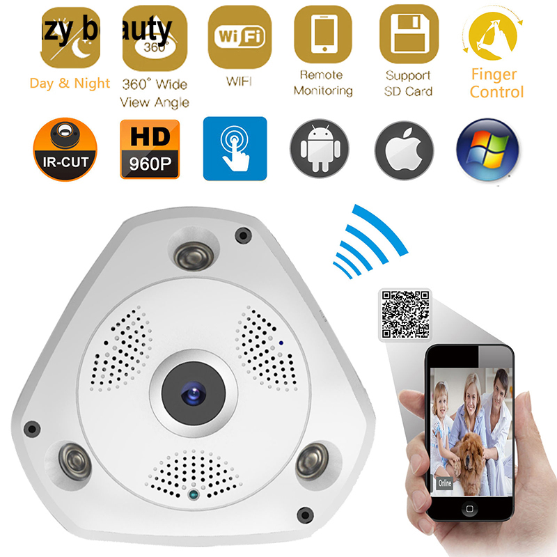 цена на JCWHCAM 1280*960 360 Degree Fisheye Panoramic Camera HD Wireless VR Panorama HD IP Camera Indoor Cam Security WiFi Camera