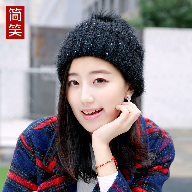 The wool hat female tide Korean winter knitted hat thickened ear muffs head cap lovely hair ball female Winter Hat