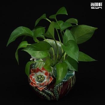 Shiwan doll ceramic vase straight body glazed dining room decoration crafts boutique lotus Creative Desktop