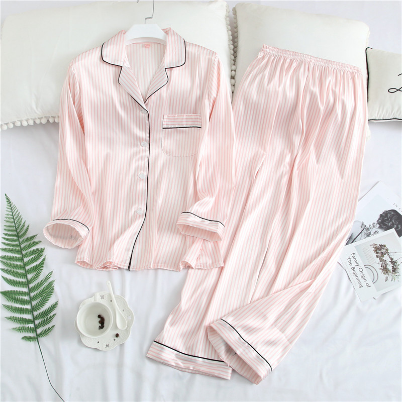 2019 New Striped Women Satin Pajamas Suit Sleep Set Shirt&pant Rayon Sleepwear Sexy Female Nightwear Faux Silk Perfect Underwear