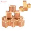 Cubos cuadrados de madera de haya juguetes de matemáticas Montessori educación Enseñanza de números materiales de juego juguetes de matemáticas rompecabezas de ayuda preescolar