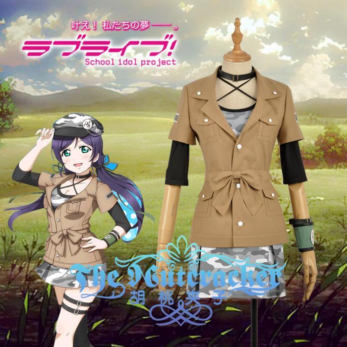Amine aime vivre! Nozomi Tojo Cosplay Costume personnalisé activité carte armée bataille Camouflage robe kaki veste vêtements