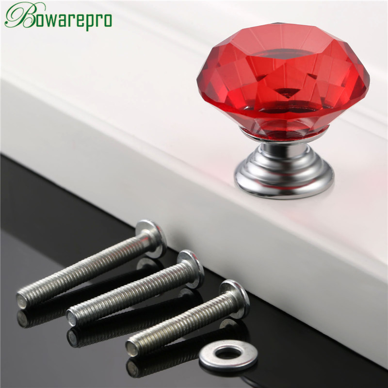 bowarepro Red Diamond Crystal Glass knob Pull <font><b>Handl