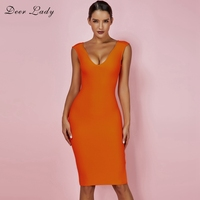 DeerLady Bandage Summer Dress 2019 New Arrivals Sexy V Neck Bandage Dress Orange Plus Size High Quality Women Bandage Dress
