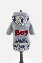 FA07 Dog Clothes Fleece Sweatshirts /w BOY Letter for 2015 Winter Clothing for Dogs Pets Pet Products Clothes