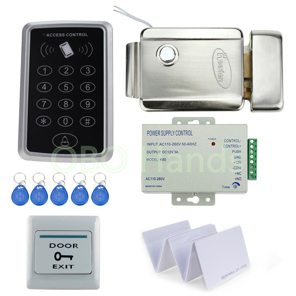 Best Full Rfid Door Access Control System 125Khz Rfid Card Access Control System Kit + Electric Lock & Power Supply digital electric best rfid hotel electronic door lock for flat apartment