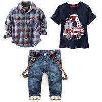 Neue Europa und die Vereinigten Staaten 2-7 jahre kinder anzug Jungen kariertes hemd + auto design T-shirt + hosenträger jeans 3 STÜCKE