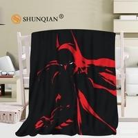 Custom Batman Pattern Travel Blanket Home TV Casual Relax for Family Soft Fluffy Warm Blanket