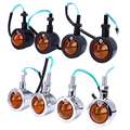 4pcs 12V Retro Refit Turn Signal Indicator Light Full Metal Chrome Old School Style with Super Bright Clear Signal Indicate