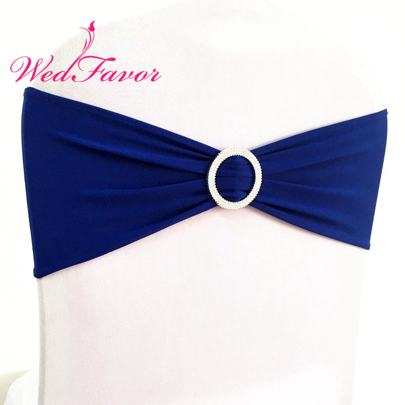 WedFavor 100pcs Royal Blue Wedding Lycra Spandex Chair Sash Bands With Plastic Round Buckle For Banquet
