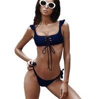 Ruffled Bikini Bandage Bikini Set Brazilian Bikinis Solid Swimsuit Bandage Swimwear Strappy Bikinis Women Bandage Swimsuits