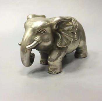China collection archaize white copper elephant craft statue