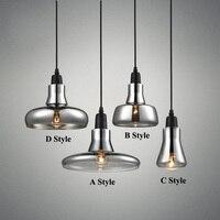 현대 연기 회색 유리 펜던트 조명 레스토랑 특별 디스크 디자인 펜던트 램프 lustres 전자의 pendentes 살라 잔
