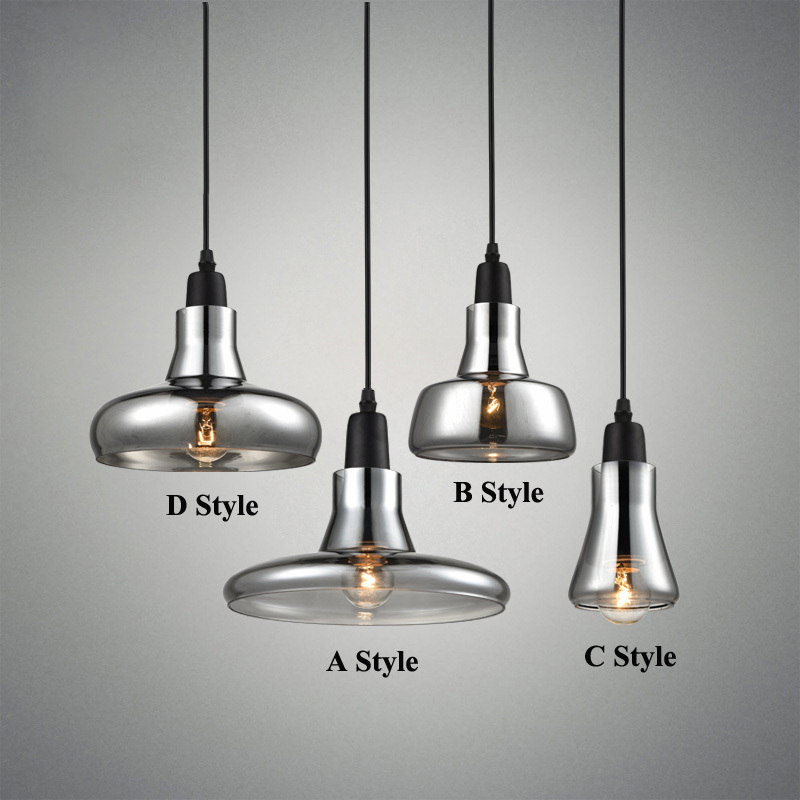 Modern Smoke Gray Glass Pendant Lights for Restaurant Special Disc Design Pendant Lamp lustres e pendentes sala jantar Lighting