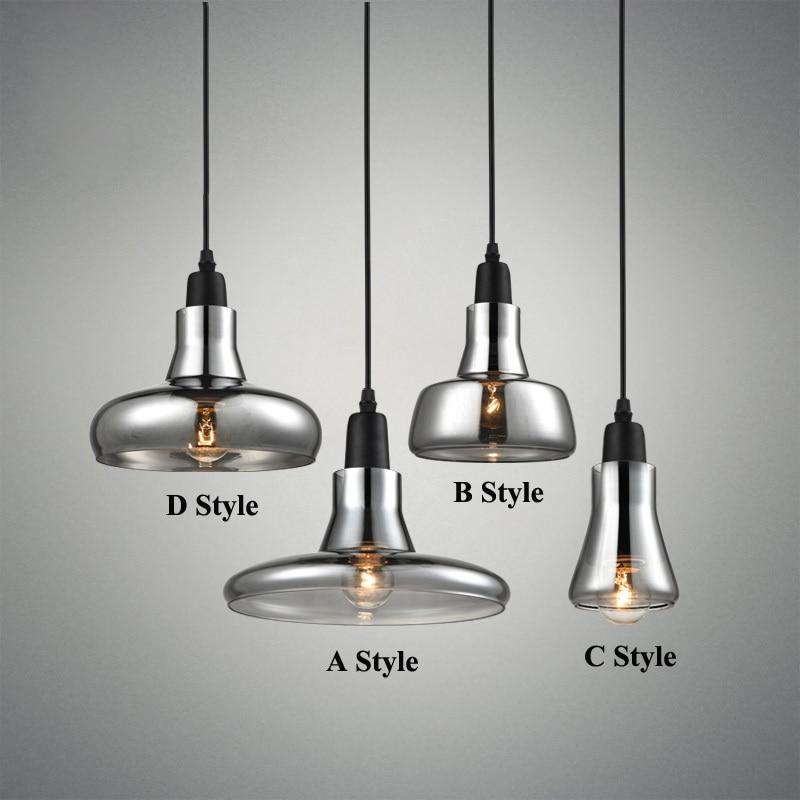 Modern Smoke Gray Glass Pendant Lights For Restaurant Special Disc Design Pendant Lamp Lustres E Pendentes Sala Jantar Lighting