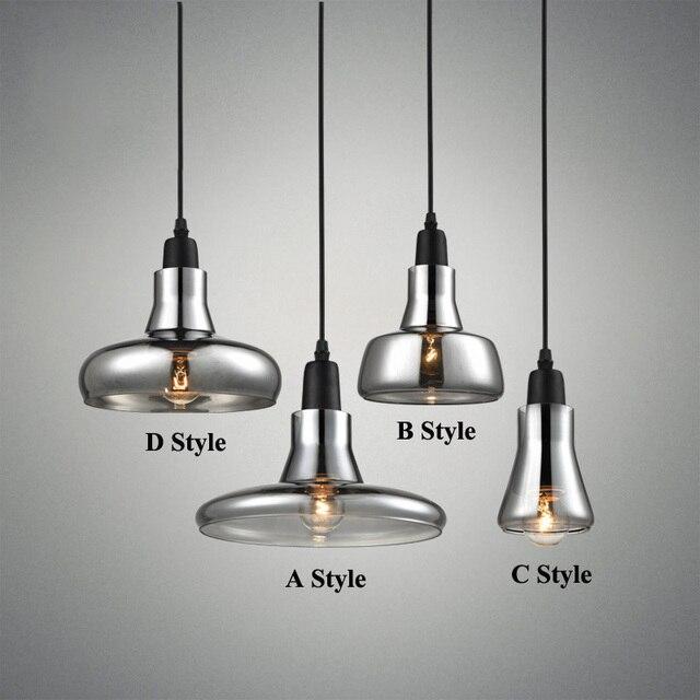 Moderno humo gris cristal Lámparas colgantes para restaurante ...