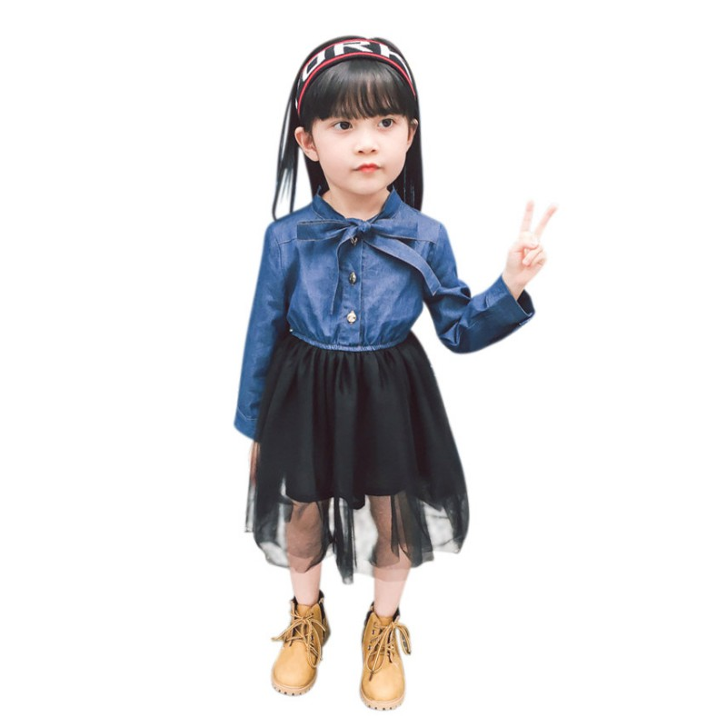 New 18 Baby Girl Dress Denim Mesh Splicing Bow Princess Dress Long-Sleeved Toddler Baby Clothes Girls Dress 9