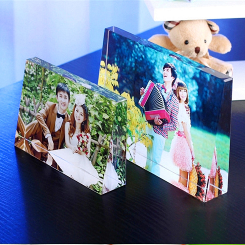 Індивідуальний Вертикальний або Thartartwise Trapezoid Crystal Мініатюрні Персоналізована Картина Наклеєні Скло Ремесла Home Decor DIY Подарунки