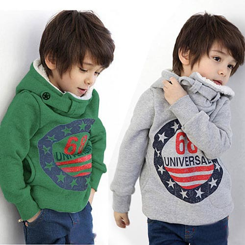 Retail children's winter fleece Korean version Autumn 68 thick cotton cashmere sweater hooded sweater The boy girl dress free