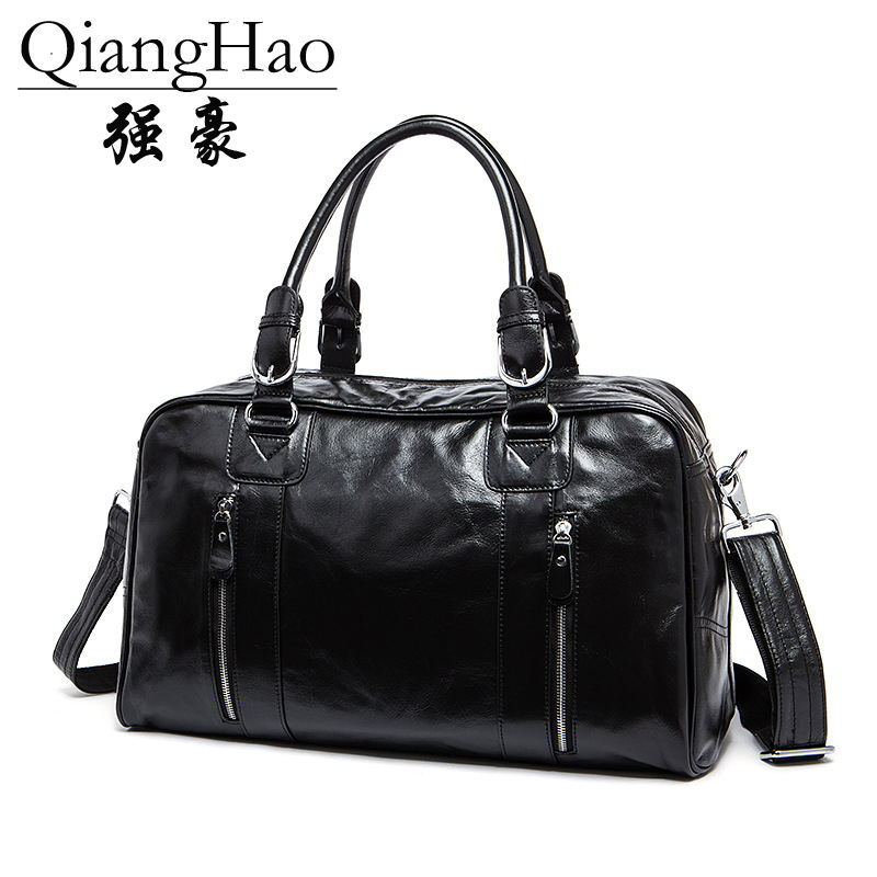 QiangHao Brand Real 100%Genuine Leather Handbags For Men Large-Capacity Portable Shoulder Bags Men's Fashion Travel Bags Package safebet brand high quality pu leather handbags for men large capacity portable shoulder bags men s fashion travel bags package