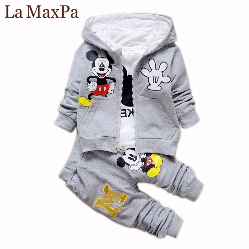 Hot Sale 2018 Autumn Baby Girls Boys Clothes Sets Cute Infant Cotton Suits Coat+T Shirt+Pants Casual Kids Children Suits