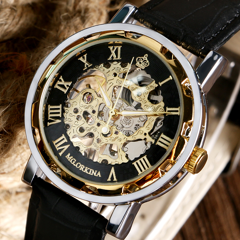 Fashion Luxry Gold Case Men Watch Genuine Leather Mechanical Hand Wind Watches Male Business Skeleton Roman Numbers Clock Male ks black skeleton gun tone roman hollow mechanical pocket watch men vintage hand wind clock fobs watches long chain gift ksp069