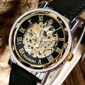 Moda Luxry Ouro Caso Relógio de Couro Genuíno Dos Homens Mão Mecânica do Vento Relógios Esqueleto Números Romanos Relógio de Negócio Masculino Masculino